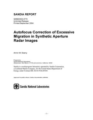 Primary view of object titled 'Autofocus correction of excessive migration in synthetic aperture radar images.'.