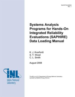 Primary view of object titled 'Systems Analysis Programs for Hands-on Integrated Reliability Evaluations (SAPHIRE) Data Loading Manual'.