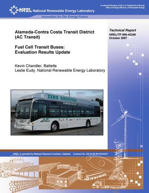 Primary view of object titled 'Alameda-Contra Costa Transit District Fuel Cell Transit Buses: Evaluation Results Update'.