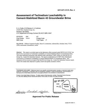 Primary view of object titled 'ASSESSMENT OF TECHNETIUM LEACHABILITY IN CEMENT STABILIZED BASIN 43 GROUNDWATER BRINE'.
