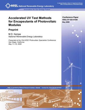 Primary view of object titled 'Accelerated UV Test Methods for Encapsulants of Photovoltaic Modules: Preprint'.