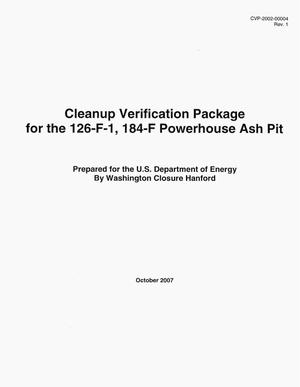 Primary view of object titled 'Cleanup Verification Package for the 126-F-1, 184-F Powerhouse Ash Pit'.