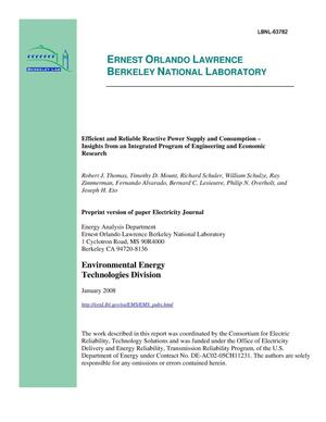 Primary view of object titled 'Efficient and Reliable Reactive Power Supply and Consumption --Insights from an Integrated Program of Engineering and EconomicResearch'.