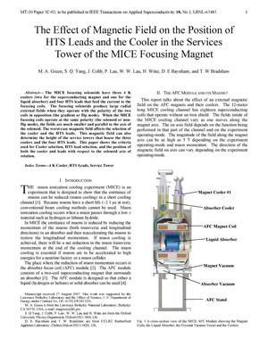 Primary view of object titled 'The Effect of Magnetic Field on the Position of HTS Leads and theCooler in the Services Tower of the MICE Focusing Magnet'.