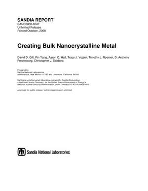 Primary view of object titled 'Creating bulk nanocrystalline metal.'.