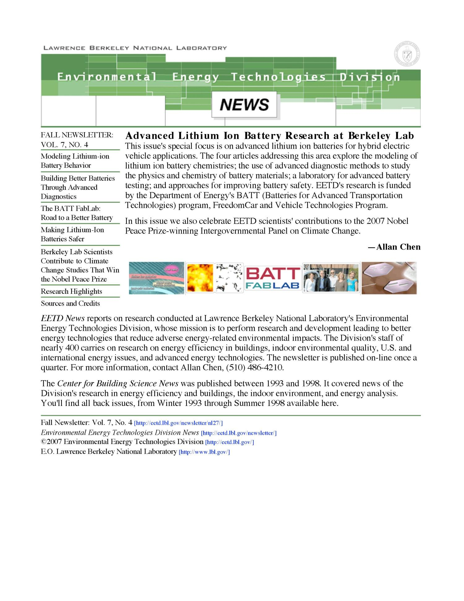 Environmental Energy Technologies Division Newsletter, Fall 2007,Vol.4, No. 4)                                                                                                      [Sequence #]: 1 of 28