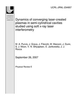 Primary view of object titled 'Dynamics of Converging Laser-Created Plasmas in Semi-Cylindrical Cavities Studied using Soft X-Ray Laser Interferometry'.