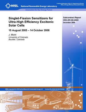Primary view of object titled 'Singlet-Fission Sensitizers for Ultra-High Efficiency Excitonic Solar Cells: 15 August 2005 - 14 October 2008'.