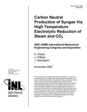 Primary view of object titled 'Carbon Neutral Production Of Syngas Via High Temperature Electrolytic Reduction Of Steam And CO2'.