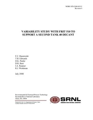 Primary view of object titled 'VARIABILITY STUDY WITH FRIT 510 TO SUPPORT A SECOND TANK 40 DECANT'.