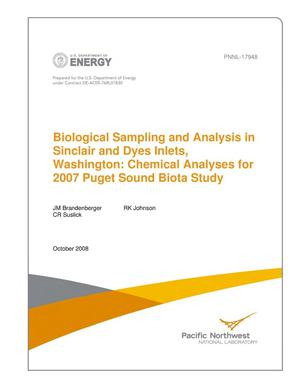 Primary view of object titled 'Biological Sampling and Analysis in Sinclair and Dyes Inlets, Washington: Chemical Analyses for 2007 Puget Sound Biota Study'.