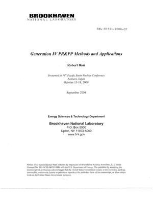 Primary view of object titled 'Generation IV PR and PP Methods and Applications'.