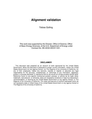 Primary view of object titled 'Alignment validation'.
