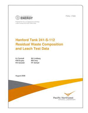 Primary view of object titled 'Hanford Tank 241-S-112 Residual Waste Composition and Leach Test Data'.
