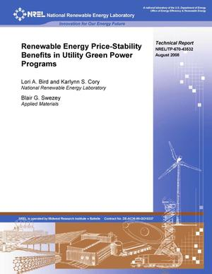 Primary view of object titled 'Renewable Energy Price-Stability Benefits in Utility Green Power Programs'.