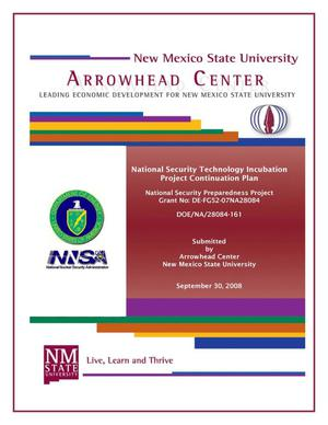 Primary view of object titled 'National Security Technology Incubation Project Continuation Plan'.