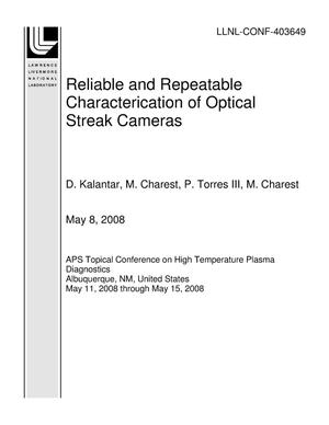 Primary view of object titled 'Reliable and Repeatable Characterication of Optical Streak Cameras'.