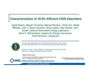 Primary view of object titled 'Characterization of 19.9% Efficient CIGS Absorbers (Presentation)'.
