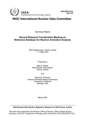 Primary view of object titled 'Second Research Coordination Meeting on Reference Database for Neutron Activation Analysis -- Summary Report'.