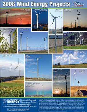 Primary view of object titled '2008 Wind Energy Projects, Wind Powering America (Poster)'.