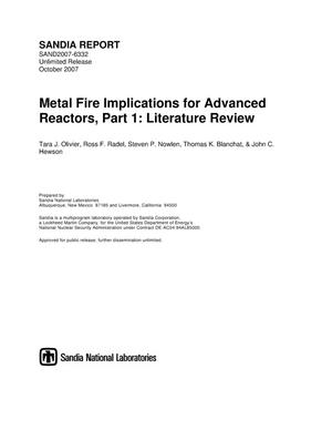 Primary view of object titled 'Metal fire implications for advanced reactors. Part 1, literature review.'.