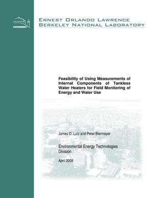 Primary view of object titled 'Feasibility of Using Measurements of Internal Components ofTankless Water Heaters for Field Monitoring of Energy and Water Use'.
