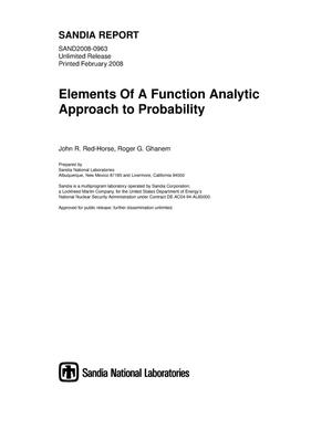 Primary view of object titled 'Elements of a function analytic approach to probability.'.