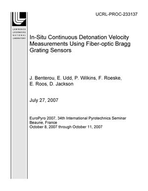 Primary view of object titled 'In-Situ Continuous Detonation Velocity Measurements Using Fiber-optic Bragg Grating Sensors'.