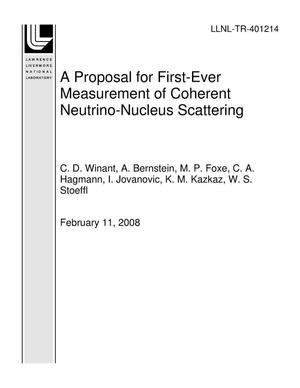 Primary view of object titled 'A Proposal for First-Ever Measurement of Coherent Neutrino-Nucleus Scattering'.