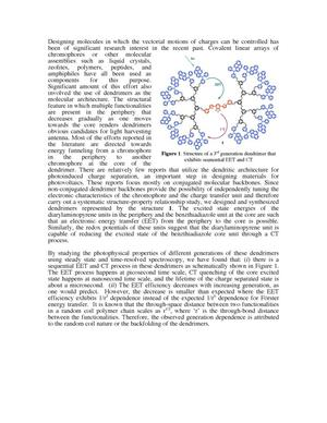 Primary view of object titled 'Design, Synthesis and Study of Dendrimers as Nanoscaffolds for Solar Energy Harvest'.