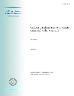 Primary view of object titled 'GridLAB-D Technical Support Document: Commercial Module Version 1.0'.