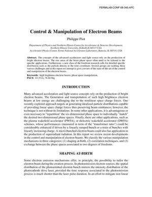 Primary view of object titled 'Control and manipulation of electron beams'.