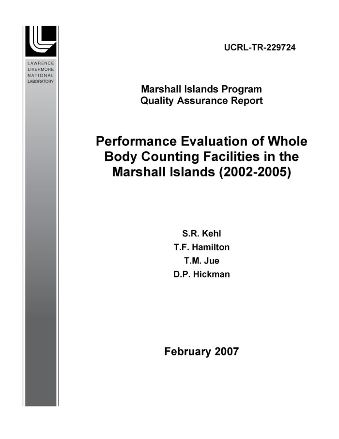 Performance Evaluation Of Whole Body Counting Facilities In The Marshall Islands 2002 2005