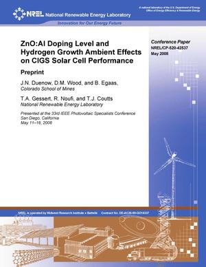 Primary view of object titled 'ZnO:Al Doping Level and Hydrogen Growth Ambient Effects on CIGS Solar Cell Performance: Preprint'.