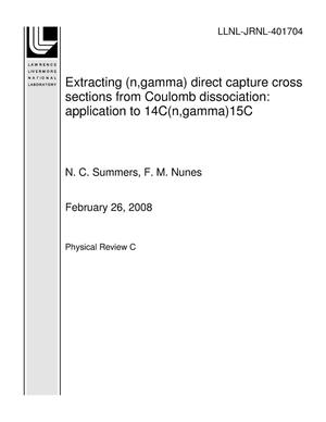 Primary view of object titled 'Extracting (n,gamma) direct capture cross sections from Coulomb dissociation: application to 14C(n,gamma)15C'.