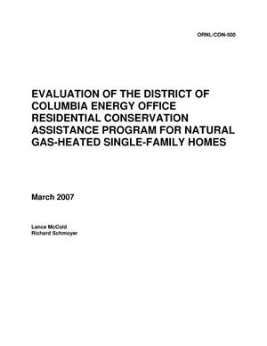 Primary view of object titled 'Evaluation of the District of Columbia Energy Office Residential Conservation Assistance Program for Natural Gas-Heated Single-Family Homes'.