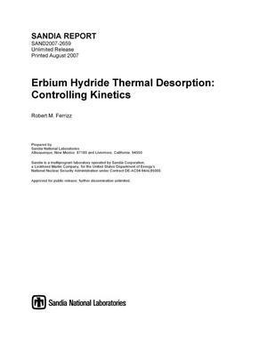 Primary view of object titled 'Erbium hydride thermal desorption : controlling kinetics.'.