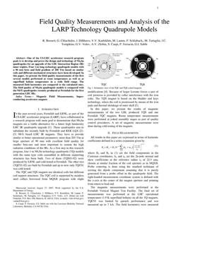 Primary view of object titled 'Field Quality Measurements and Analysis of the LARP Technology Quadrupole Models'.