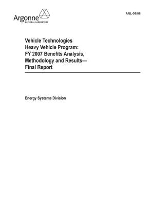 Primary view of object titled 'Freedom car and vehicle technologies heavy vehicle program : FY 2007 benefits analysis, methodology and results -- final report.'.