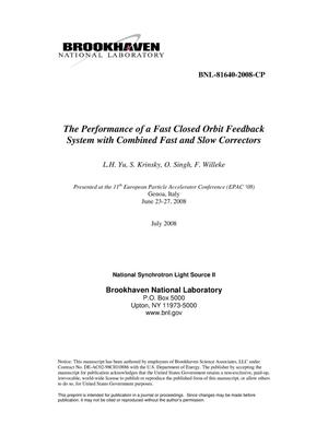 Primary view of object titled 'The Performance of a Fast Closed Orbit Feedback System with Combined Fast and Slow Correctors'.