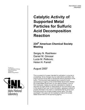 Primary view of object titled 'Catalytic Activity of Supported Metal Particles for Sulfuric Acid Decomposition Reaction'.