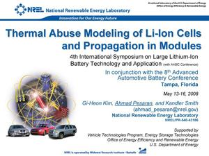 Primary view of object titled 'Thermal Abuse Modeling of Li-Ion Cells and Propagation in Modules (Presentation)'.