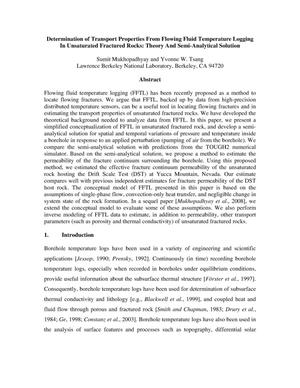 Primary view of object titled 'Determination of Transport Properties From Flowing Fluid Temperature LoggingIn Unsaturated Fractured Rocks: Theory And Semi-Analytical Solution'.