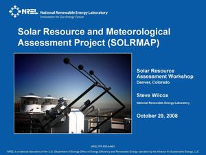 Primary view of object titled 'Solar Resource and Meteorological Assessment Project (SOLRMAP)'.