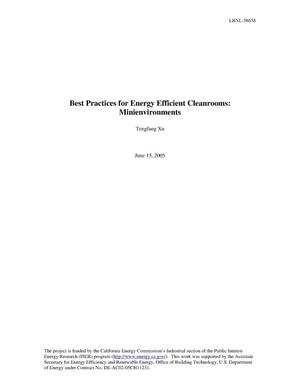 Primary view of object titled 'Best Practice for Energy Efficient Cleanrooms:Minienvironments'.