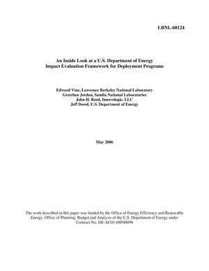 Primary view of object titled 'An Inside Look at a U.S. Department of Energy Impact EvaluationFramework for Deployment Programs'.