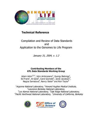 Primary view of object titled 'Data Standards for the Genomes to Life Program'.