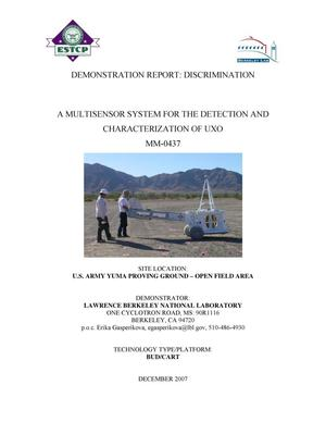 Primary view of object titled 'Discrimination Report: A Multisensor system for detection andcharacterization of UXO, ESTCP Project MM-0437,'.