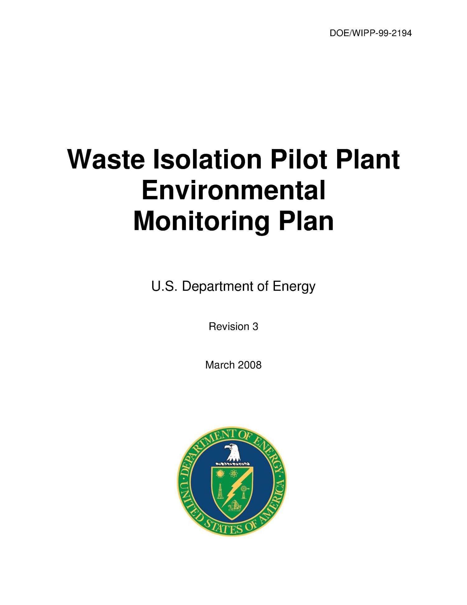 Waste Isolation Pilot Plant Environmental Monitoring Plan                                                                                                      [Sequence #]: 1 of 48