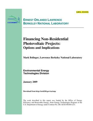 Primary view of object titled 'Financing Non-Residential Photovoltaic Projects: Options and Implications'.